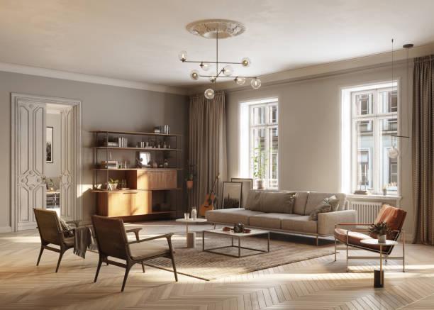 Vollmöbliertes Wohnzimmer – Foto