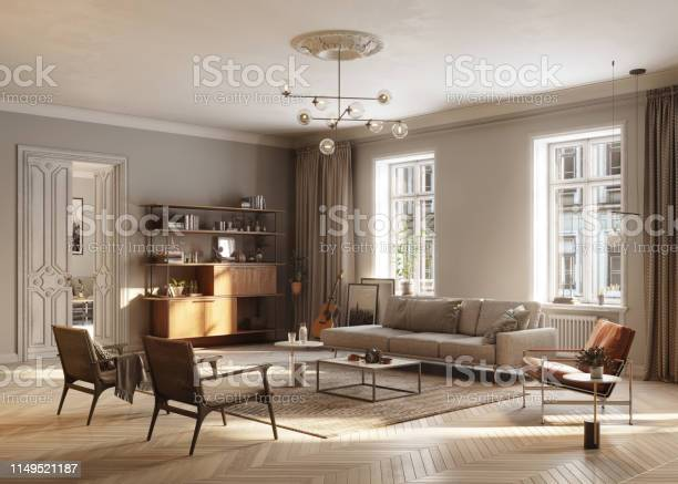 Full Furnished Living Room Stock Photo - Download Image Now