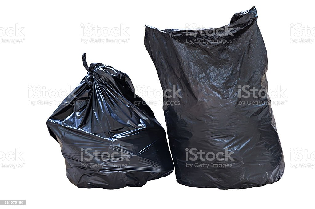 Full garbage bags isolated on white background stock photo