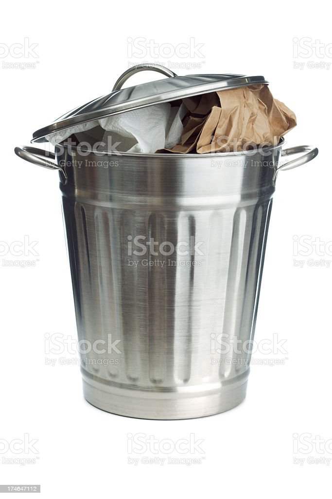 Full Garbage Can, Overflowing Open Metal Lid Isolated on White stock photo