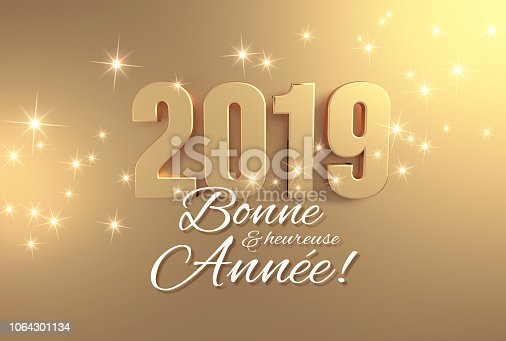 istock Full gold 2019 French Greeting card 1064301134
