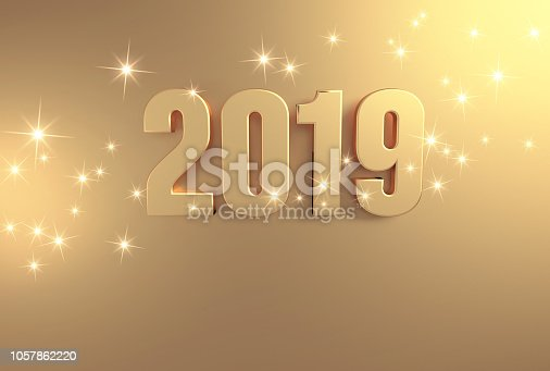 istock Full gold 2019 Greeting card 1057862220