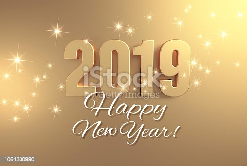 istock Full gold 2019 Greeting card 1064300990