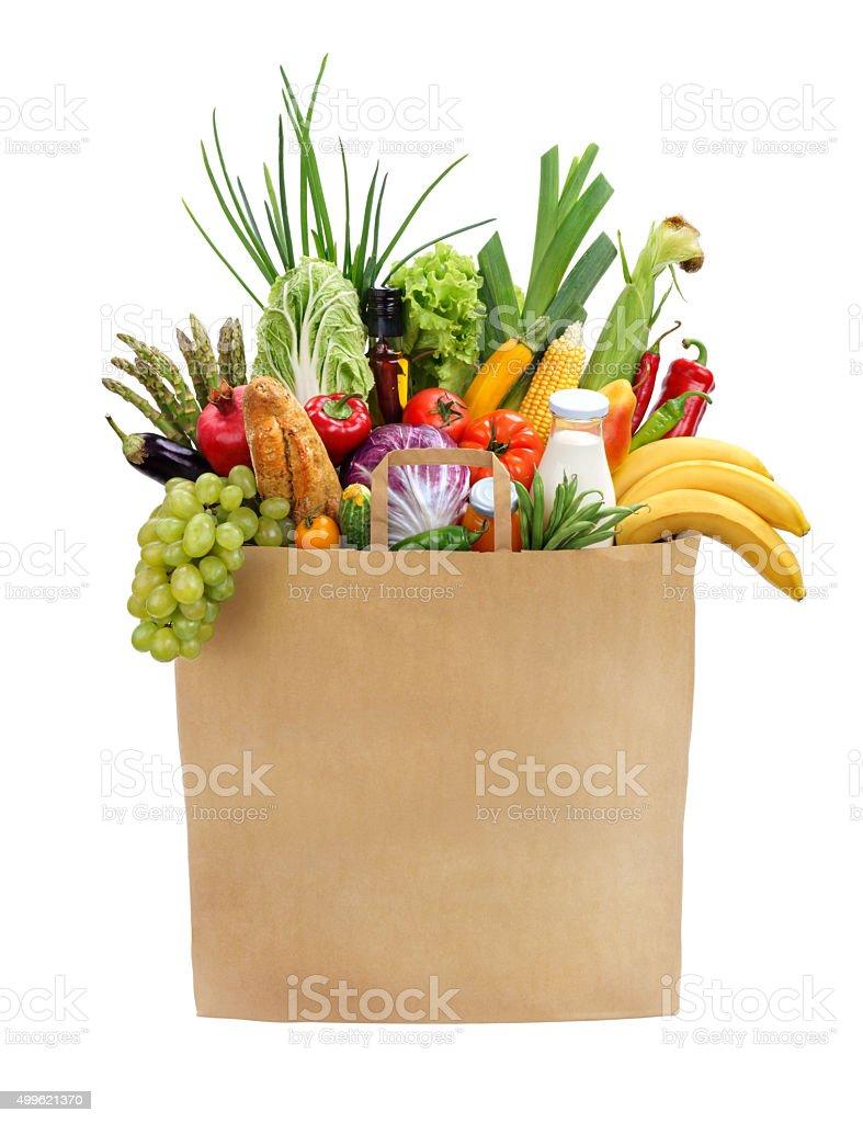 Full grocery bag stock photo