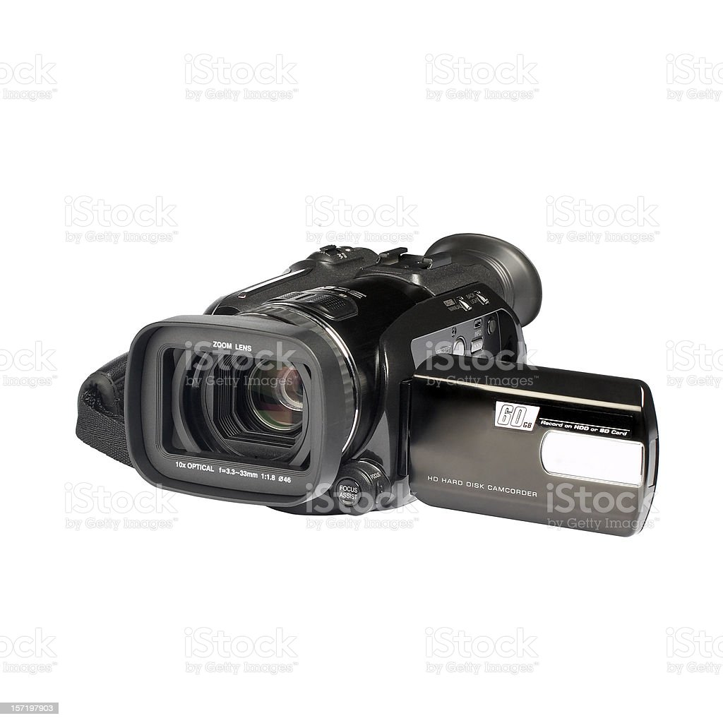 Full HD digital camera (clipping path), isolated on white background stock photo