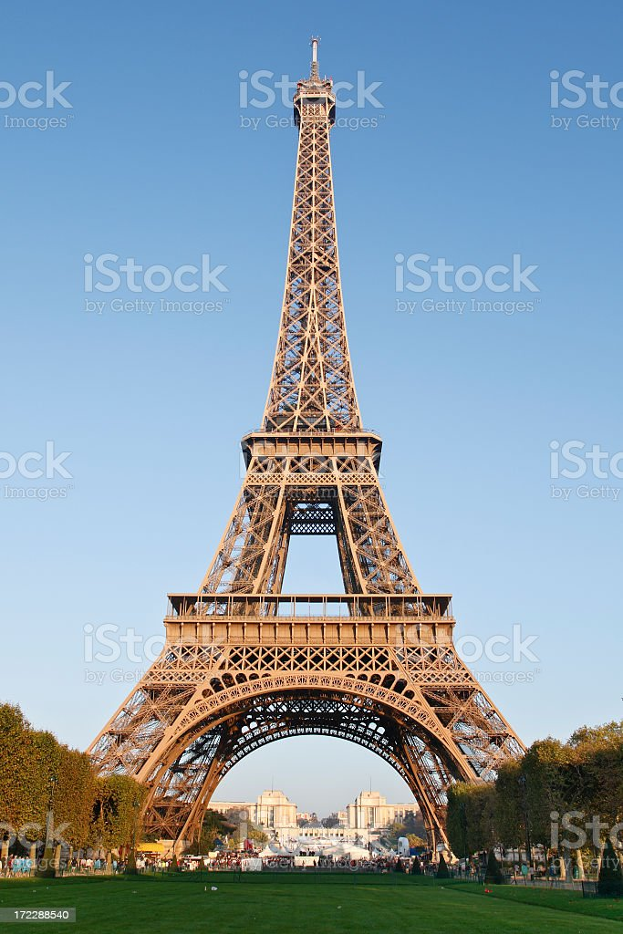 Full height view of the Eiffel Tower in Paris royalty-free stock photo