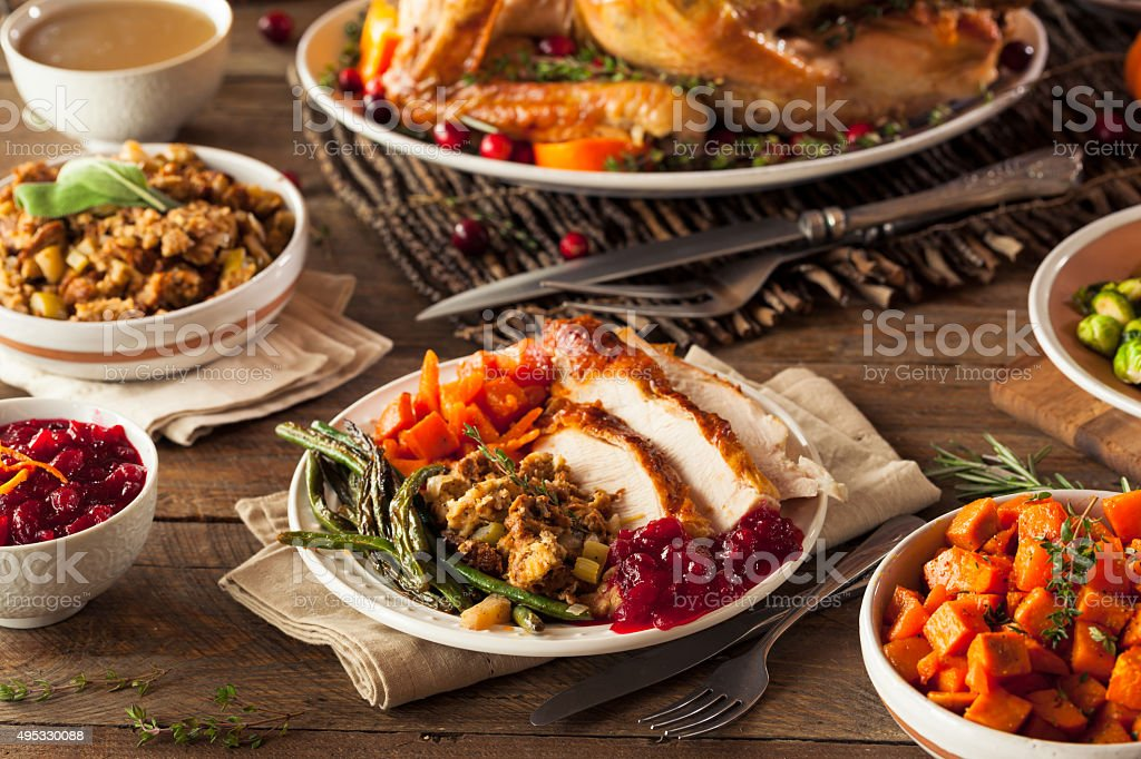 Full Homemade Thanksgiving Dinner stock photo