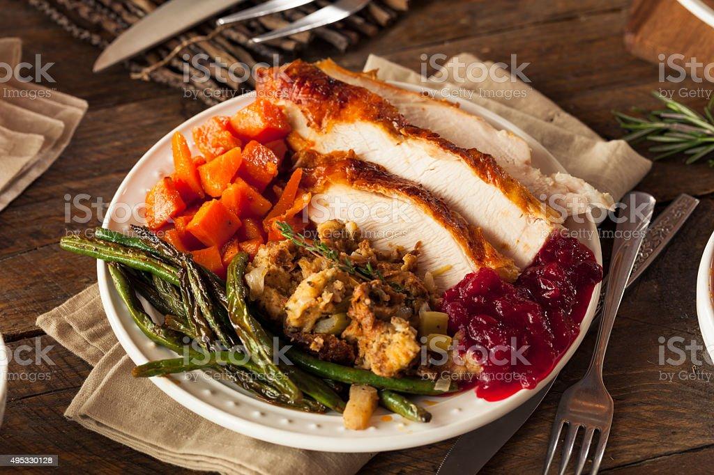 Full Homemade Thanksgiving Dinner stock photo