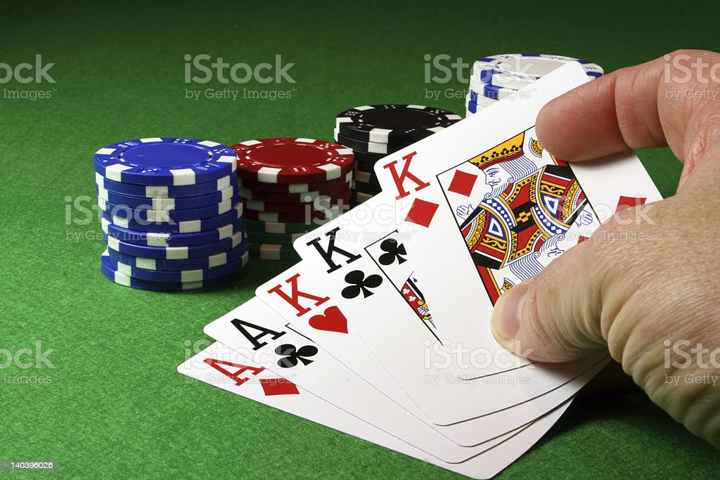 Full House in the hand royalty-free stock photo