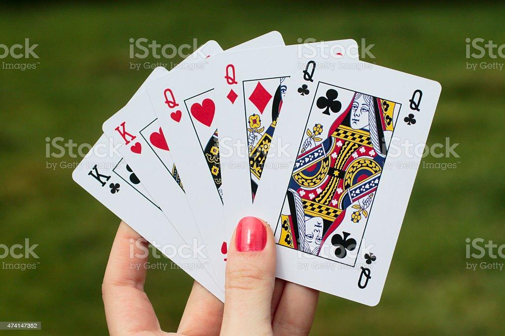 Full House Poker Hand Latvian Girl Red Nails Stock Photo & More ...