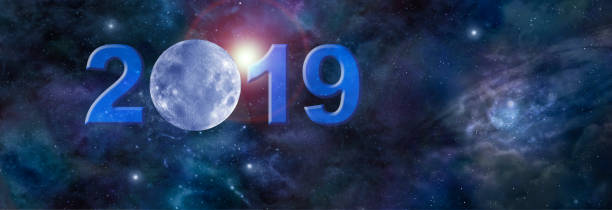 full january moon in 2019 website header - cyclic stock pictures, royalty-free photos & images