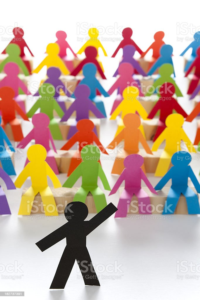 Full lecture hall with speaker - paper concept royalty-free stock photo
