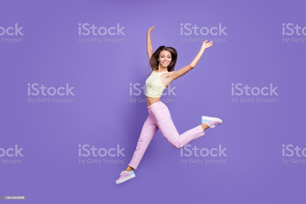 Full legs length body size portrait of emotion excited ecstatic...