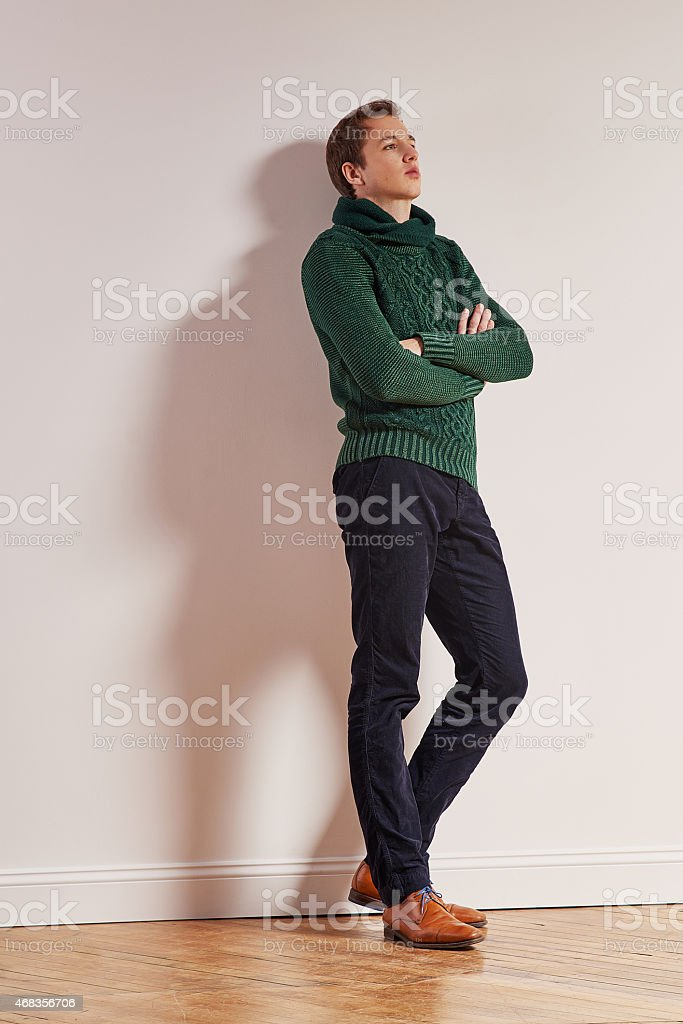 Full lenght portrait of young sad man royalty-free stock photo