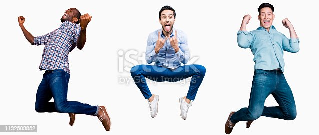 925466128 istock photo Full length body size portrait cool attractive cheerful he him his guys flying mixed together one stylized illustration sport life club advertisement placard idea concept isolated white background 1132503852