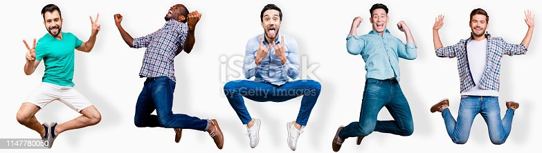 925466128 istock photo Full length body size portrait cool attractive cheerful he him his guys flying mixed together one stylized illustration sport life club advertisement placard idea concept isolated white background 1147780050