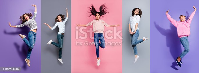 istock Full length body size view five different nice dreamy lovely attractive charming positive thin slim people having fun isolated over pastel pink violet purple grey background 1132506946