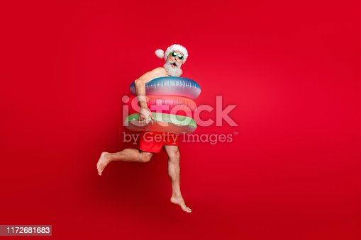 istock Full length body size view of nice handsome cheerful cheery funky glad positive comic childish playful wondered bearded gray-haired man hurry rush isolated on bright vivid shine red background 1172681683