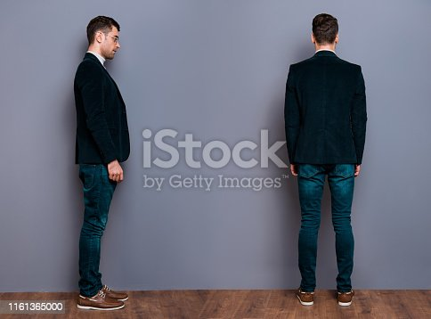 Full length body size view portrait of his he nice cool attractive handsome bearded candid guy wearing velveteen blazer dark jeans near gray violet purple pastel background wall