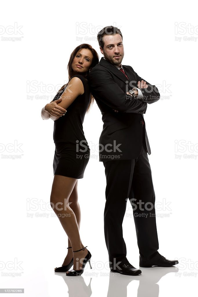 Full length business man & woman. royalty-free stock photo