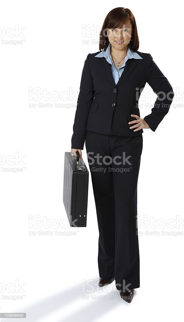 Full Length Business Woman on a White Background royalty-free stock photo