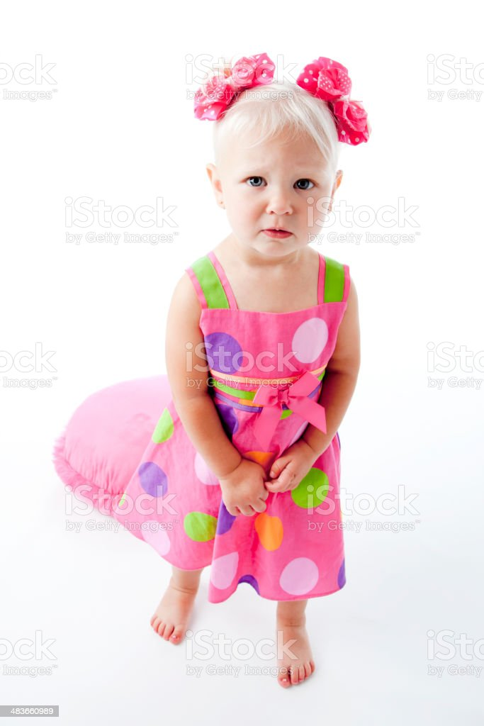 Full Length Caucasian Toddler Girl is Disappointed or Angry royalty-free stock photo