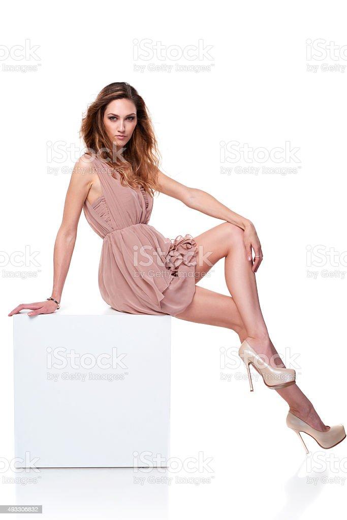 Full length fashion model in gorgeous dress stock photo