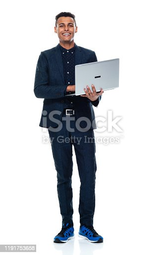 istock Full length / front view / looking at camera / one man only / one person of 20-29 years old adult handsome people black hair / short hair african ethnicity / african-american ethnicity male / young men businessman / business person standing 1191753658