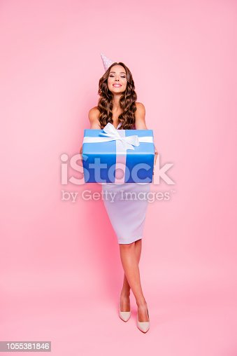 istock Full length, legs, body, size vertical portrait of gorgeous, adorable, good-looking high heels shoes curly woman isolated on bright pink background hold blue gift in hands like a present to you 1055381846