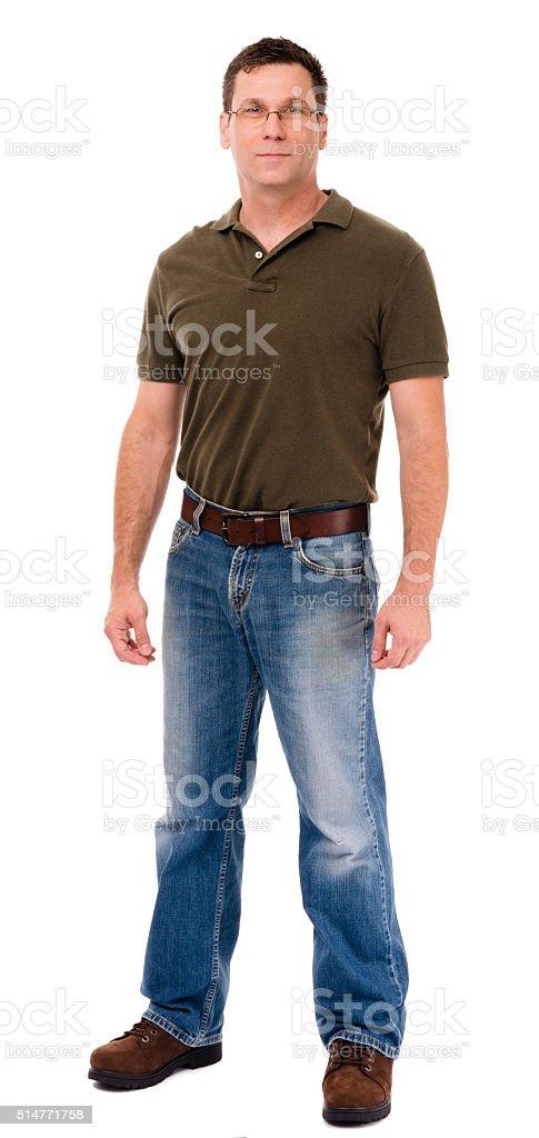 Full length man on white stock photo