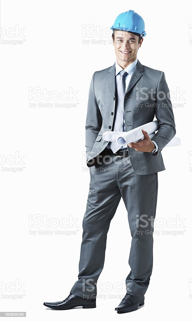 Full length of a confident architect holding blueprints royalty-free stock photo