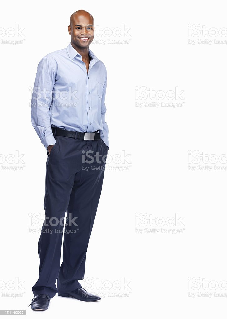 Full length of a confident young business man isolated on white stock photo