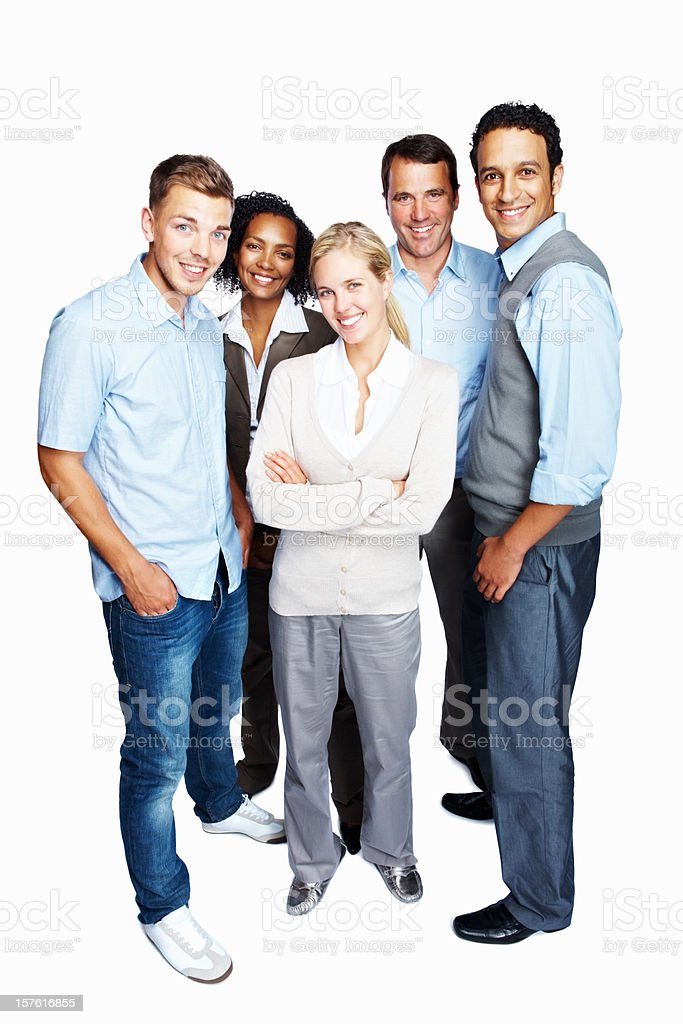 Full length of a happy business team isolated against white royalty-free stock photo