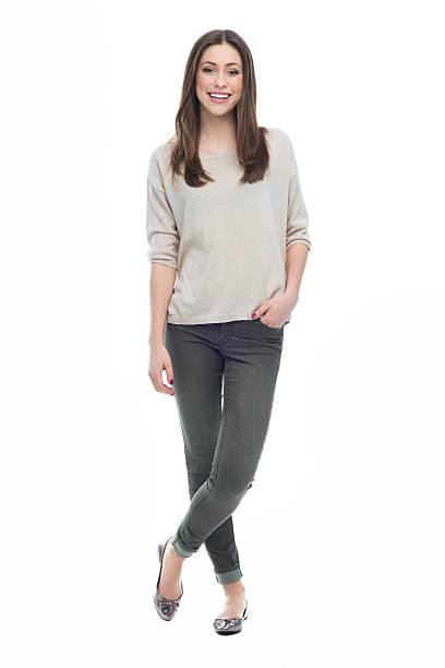 full length of attractive young woman - ayakta durmak stok fotoğraflar ve resimler