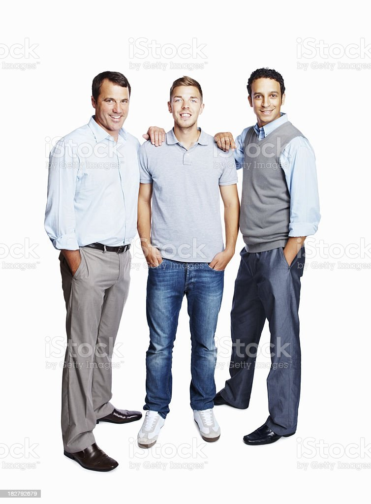 Full length of business colleagues standing together against white stock photo