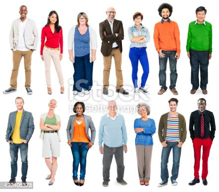 istock Full Length of Diverse Multiethnic People in a Row 492405373