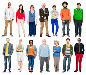 Full Length of Diverse Multiethnic People in a Row