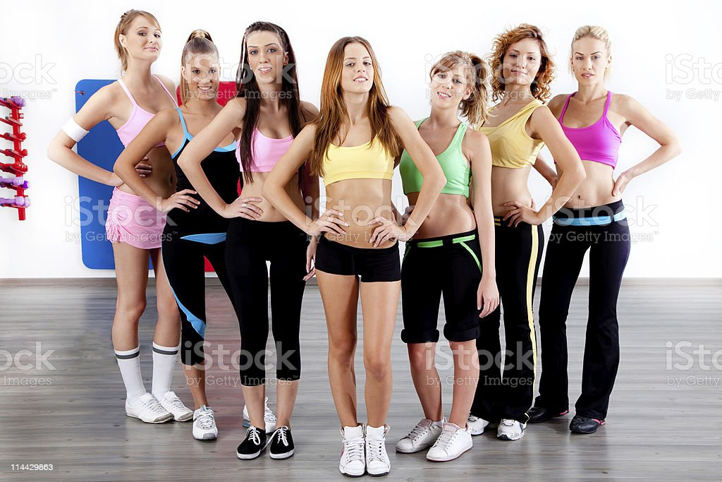 full length of fit women royalty-free stock photo