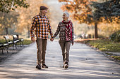 Happy senior couple holding hands while walking and communicating in autumn day.