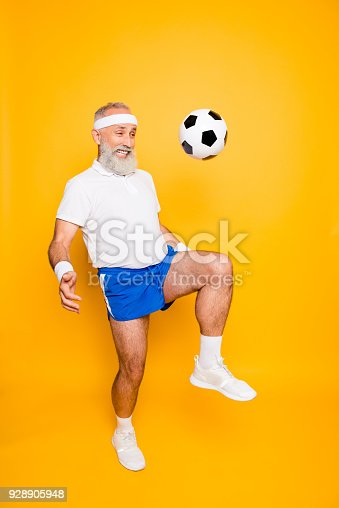 istock Full length of modern cool funny competetive pensioner, leader, champion. Funky, bodycare, healthcare, weight loss, strength, leadership, motivation, authority, gym lifestyle 928905948