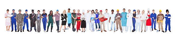 Toute la longueur des personnes atteintes de différentes professions - Photo