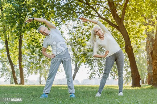 942580016istockphoto Full length of senior couple stretching together in park outdoors before yoga and fitness exercises 1172160986