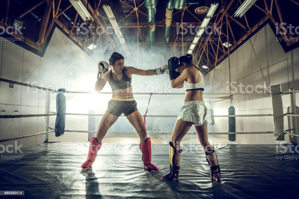 Comprimento total de duas mulheres num duelo em uma luta de boxe no health club. - foto de acervo