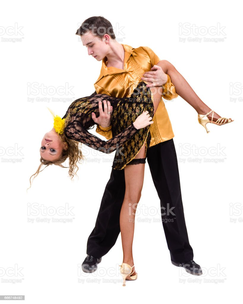 Full length of young ballet couple dancing against isolated white foto stock royalty-free