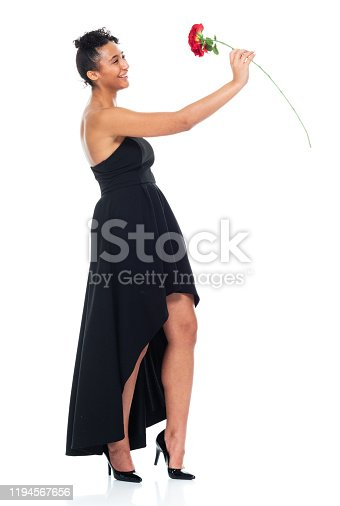 istock Full length / one person / front view of 20-29 years old adult beautiful african ethnicity / african-american ethnicity female / young women standing wearing dress who is smiling / happy / cheerful / love - emotion / cool attitude 1194567656