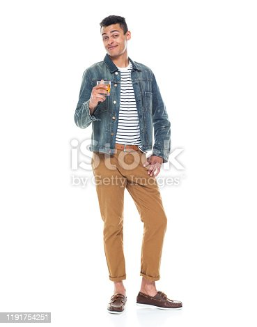 istock Full length / one person / front view of 20-29 years old adult handsome people / tall person african ethnicity / african-american ethnicity male / young men standing wearing denim jacket who is smiling / happy / cheerful / cool attitude 1191754251