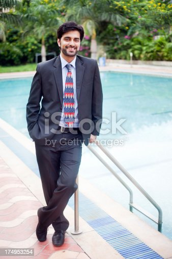 istock Full Length Outdoor Portrait of Cheerful Handsome Asian Indian Businessman 174953254
