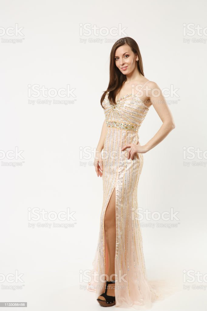 Full Length Photo Fashion Model Woman Wearing Elegant Evening