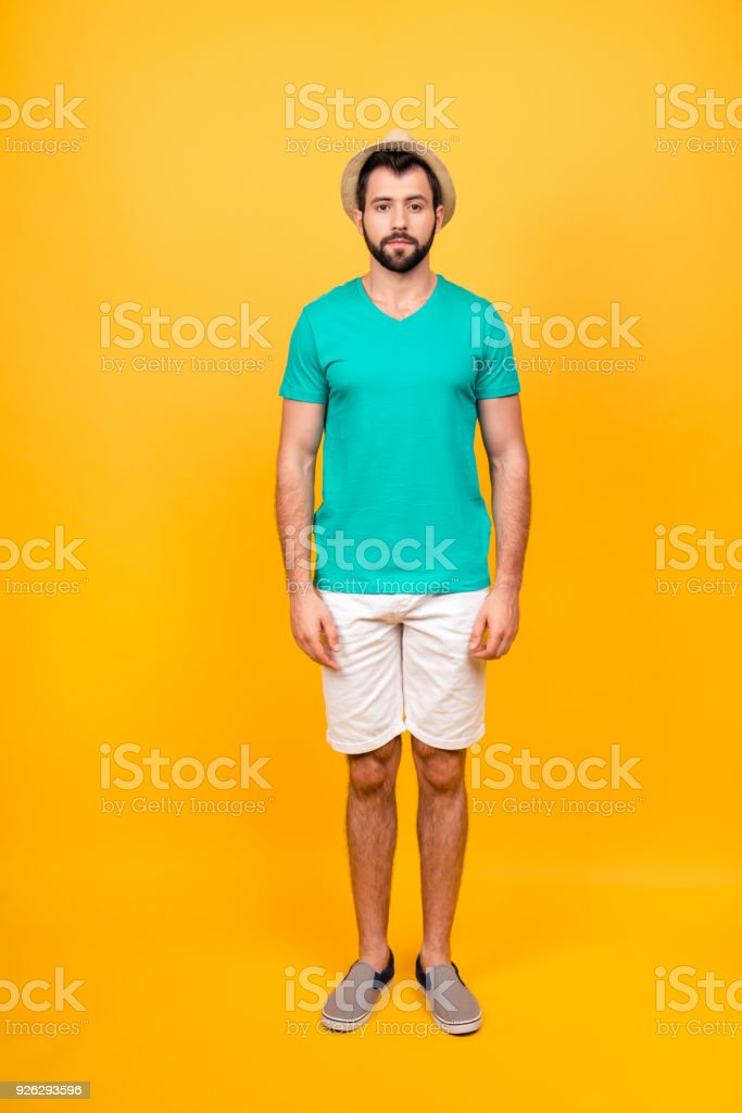 Full length photo of serious confident man wearing casual clothing,...