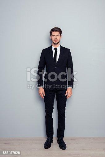 istock Full length photo of stylisn man in black tuxedo 637457928
